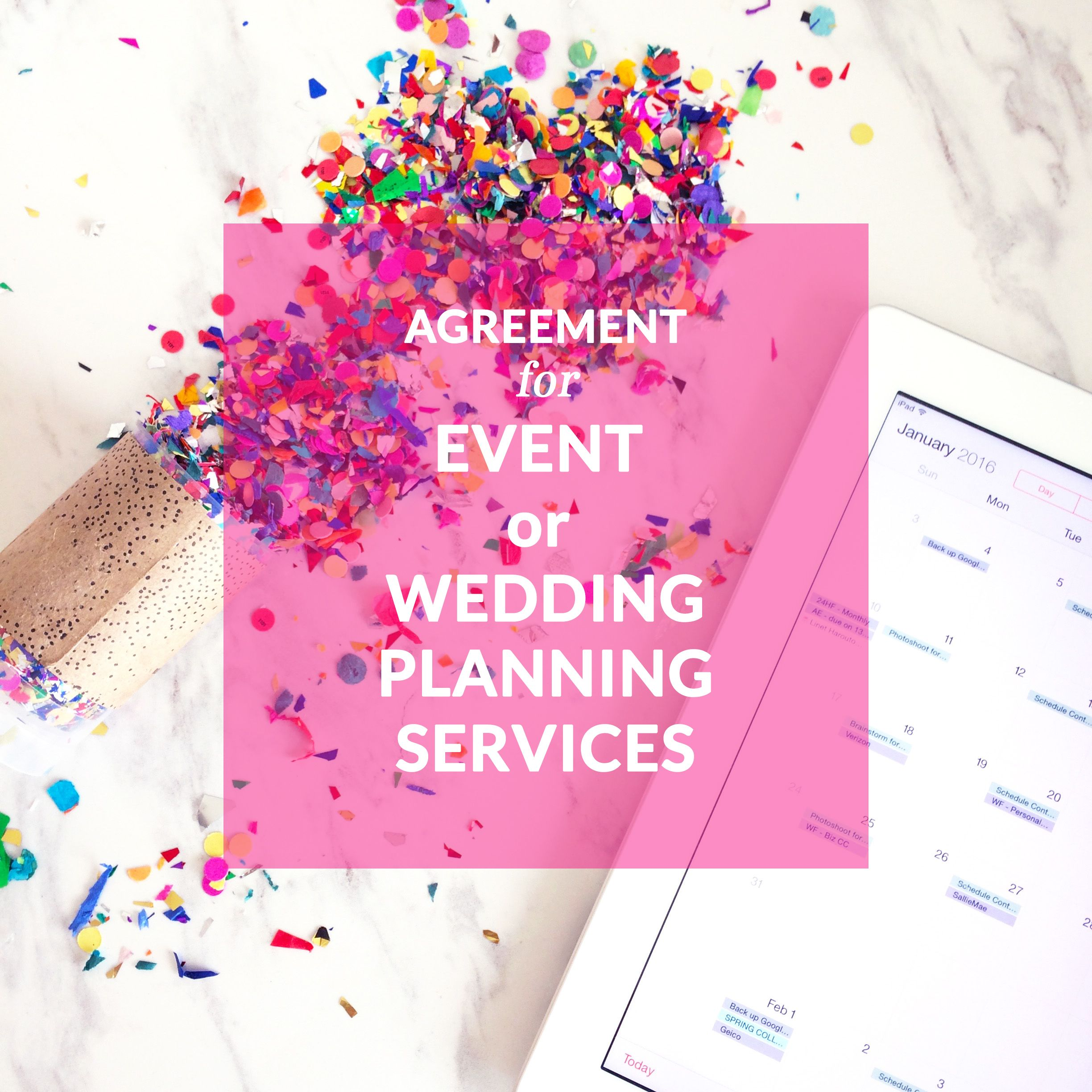 Agreement For Event Or Wedding Planning Services Planner Template Contract