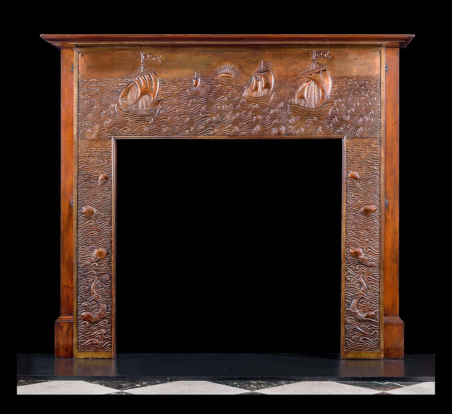 antique arts and crafts fireplace mantel repousse copper