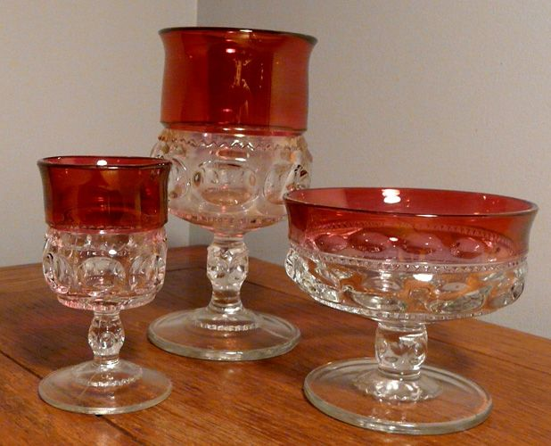 Kings Crown Thumbprint Ruby Glass | Glassware | Kings crown
