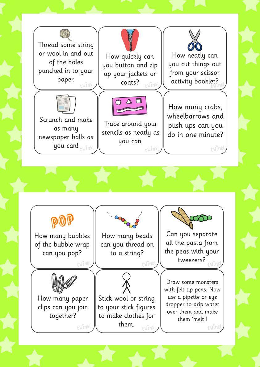 Fine motor skills activity cards july provision for Fine and gross motor skills activities