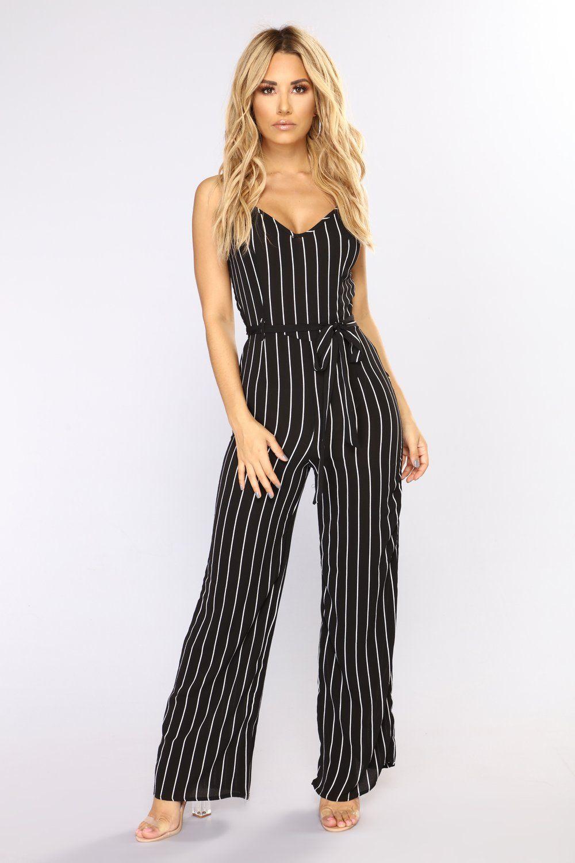 10947e8d371 Let s Go Away Stripe Jumpsuit - Black White in 2019
