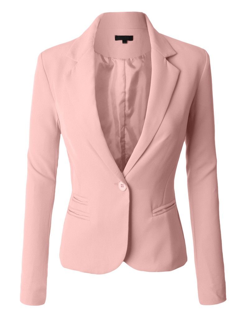 Blazers Blue Pink Ladies Blazer Jackets Work Wear 2019 Fashion Casual Long Sleeve Blasers Lady One Button Office Suit Outwear Female Refreshing And Beneficial To The Eyes