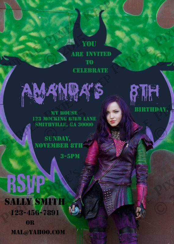 Disney Descendants Birthday Party Invitation