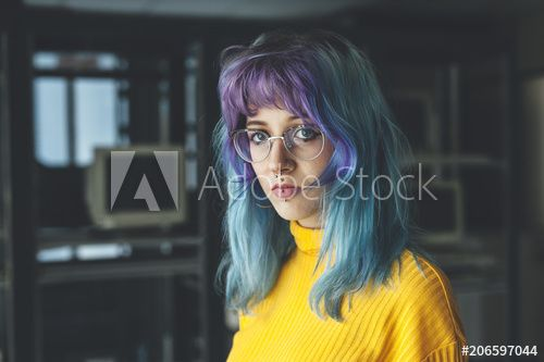 Portrait young woman with blue hair, piercings and glasses , #SPONSORED, #woman, #young, #Portrait, #blue, #glasses #Ad