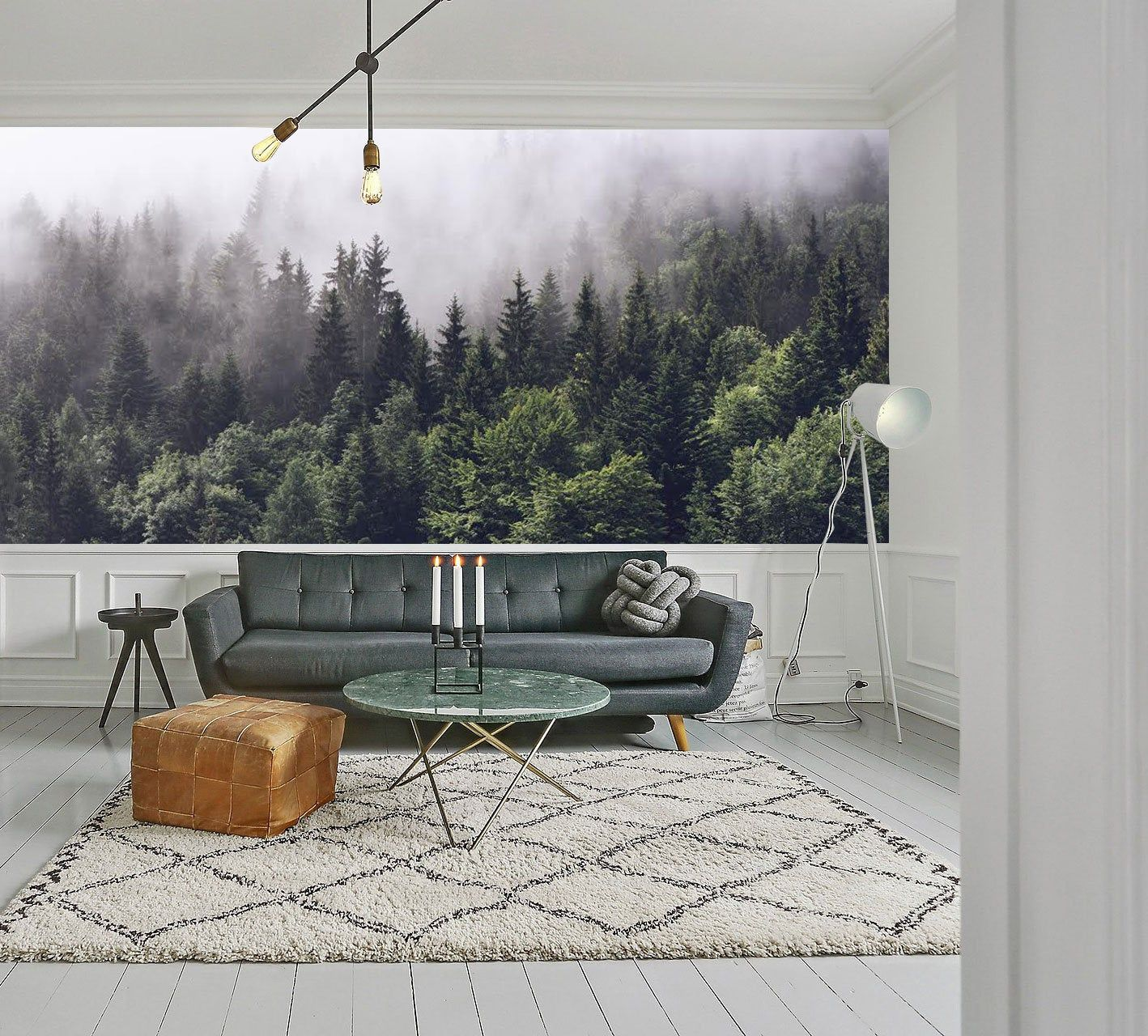 Misty Forest scene mural, Mountain forests mural, Forest