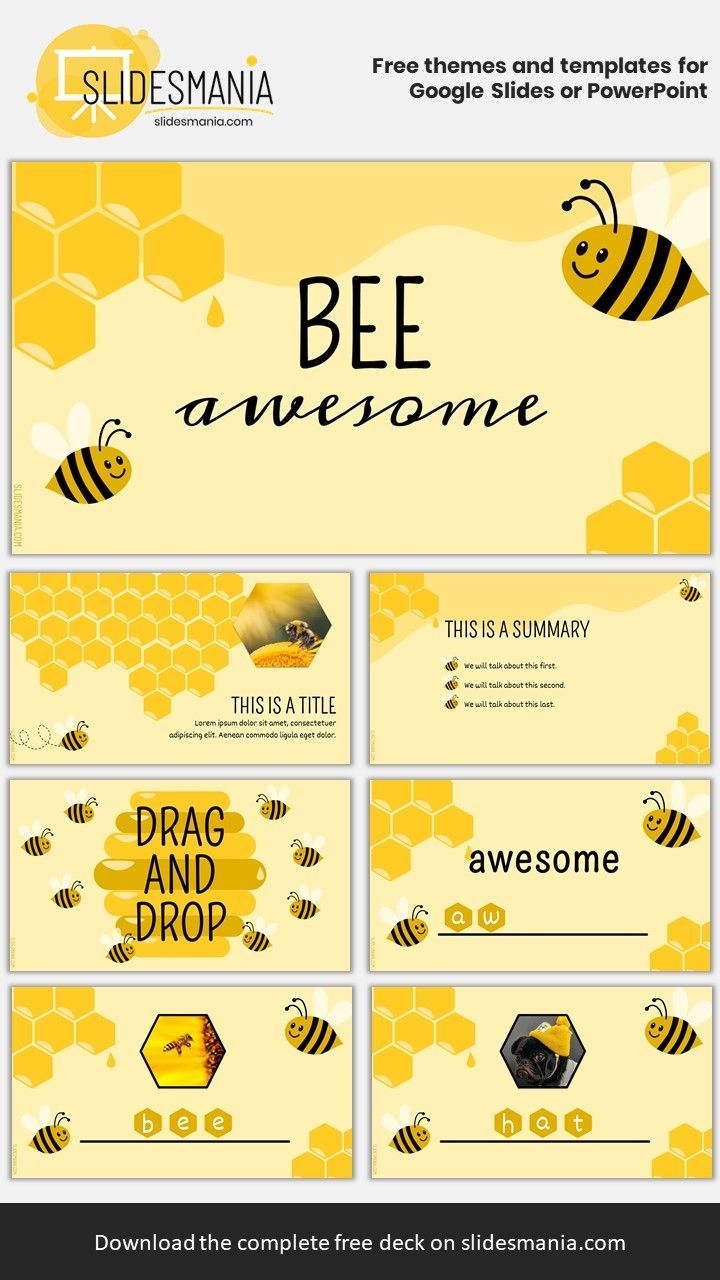 bee awesome  for spelling and drag and drop activities  free template for google slides or ppt