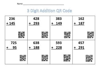 3Digit Addition Worksheet with QR Codes (With images