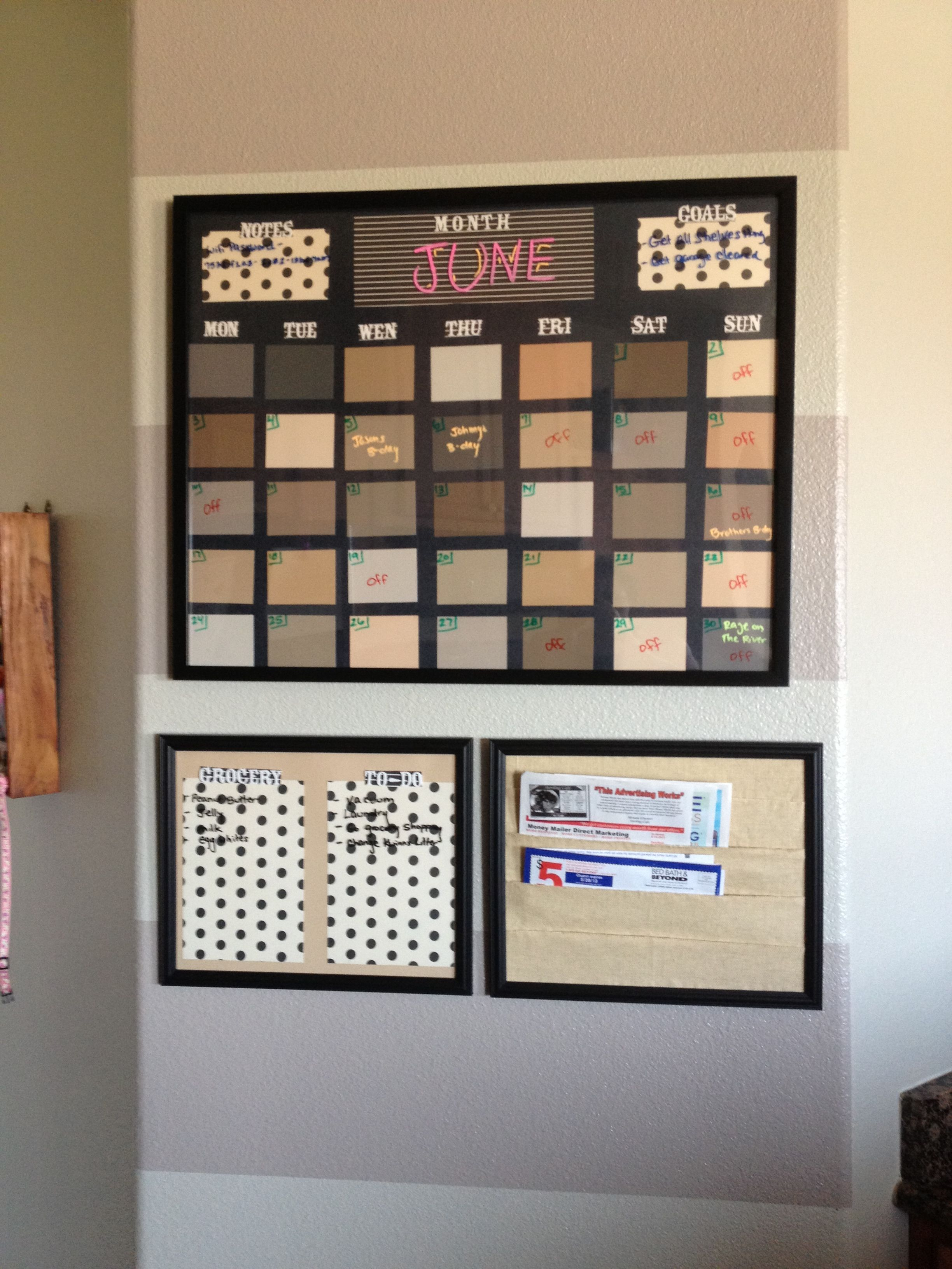 Dry Erase Calendar Made With Lowes Paint Samples And Craft