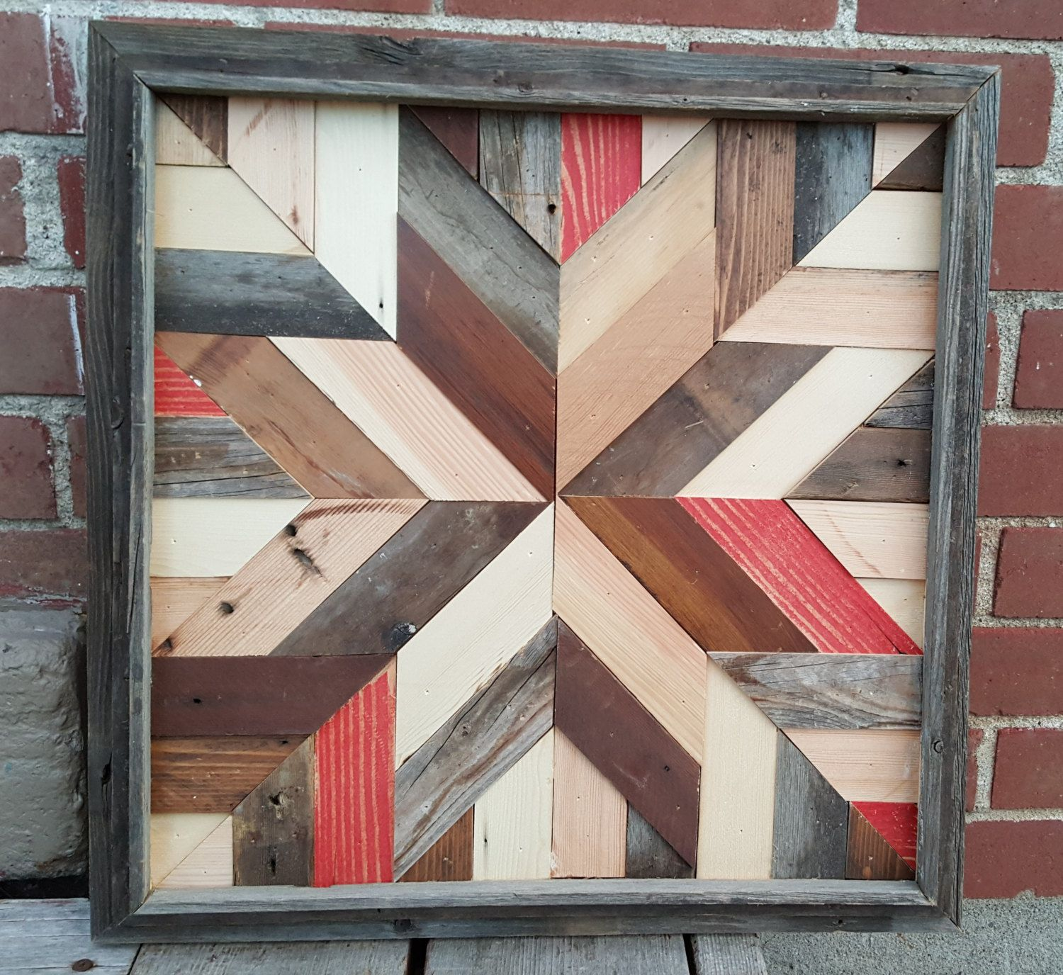 Rustic Barn Quilt Star - made from Reclaimed Barn Wood Salvaged and ...