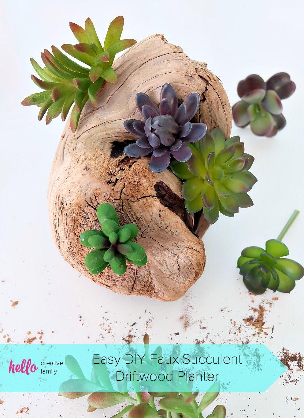 Easy diy faux succulent driftwood planter diy home decor