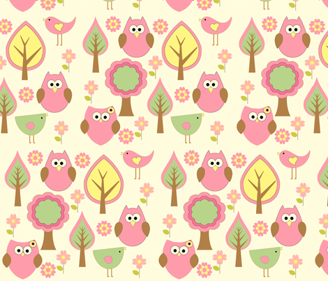 Forest Animals in Pink fabric by anikabee on Spoonflower - custom fabric    This will be a baby t-shirt for my sister's firstborn, due 1st of August! :-)