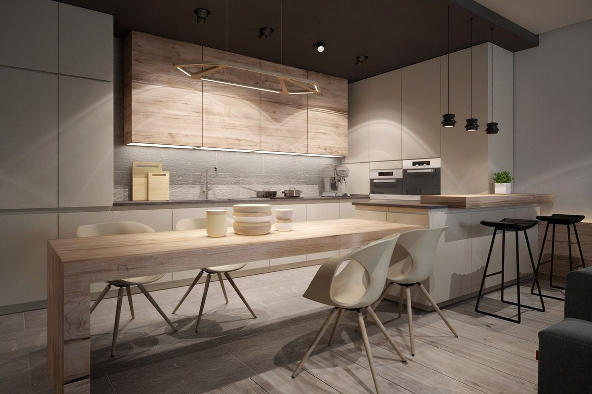 Idées Pour Décorer Un Intérieur Avec Des Couleurs Neutres Modern - Image cuisine ouverte pour idees de deco de cuisine