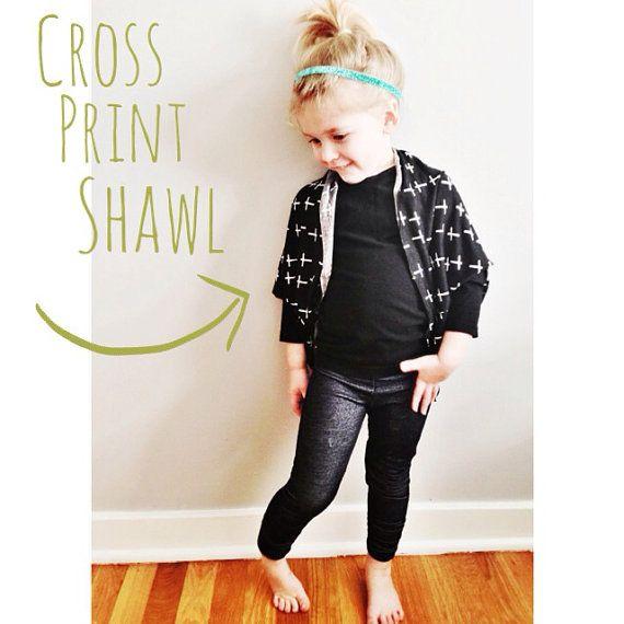Cross Print Kid Kimono Shawl // Toddler Girl Clothing Shawl ...