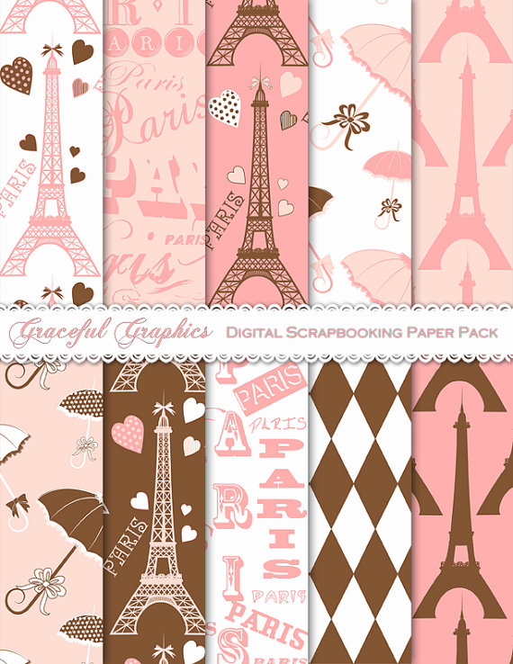 Digital Paper French PARIS Eiffel Tower Subway Art Scrapbook Pack PINK Brown White 10 Sheets 8.5  sc 1 st  Pinterest & Digital Paper French PARIS Eiffel Tower Subway Art Scrapbook Pack ...