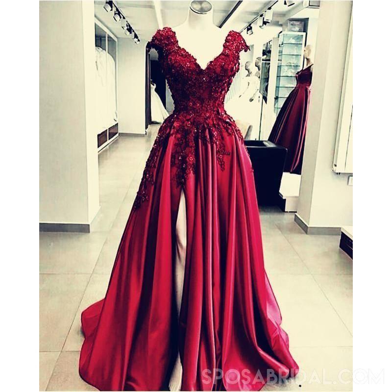 Chamring split side floor length vneck burgundy prom