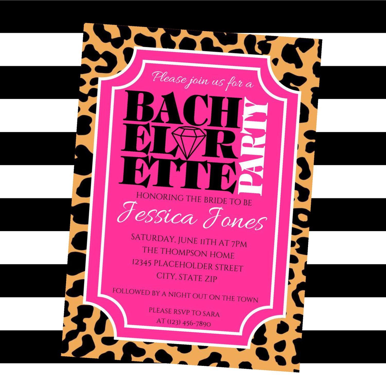 Bachelorette party invite - Leopard and pink invite - Printable file ...