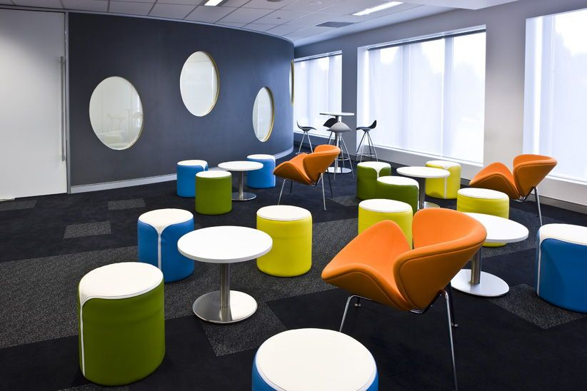 Zip Ottomans Used A Colour And Mobile Seating At Yellow Edge