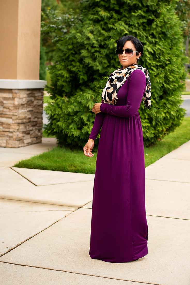 Love This Long Sleeve Maxi Dress For The Fall Fallfashionideas Maxidress Purpledress Autumnfashioninspiration Longslee Maxi Dress Dresses Stylish Dresses [ 1102 x 735 Pixel ]