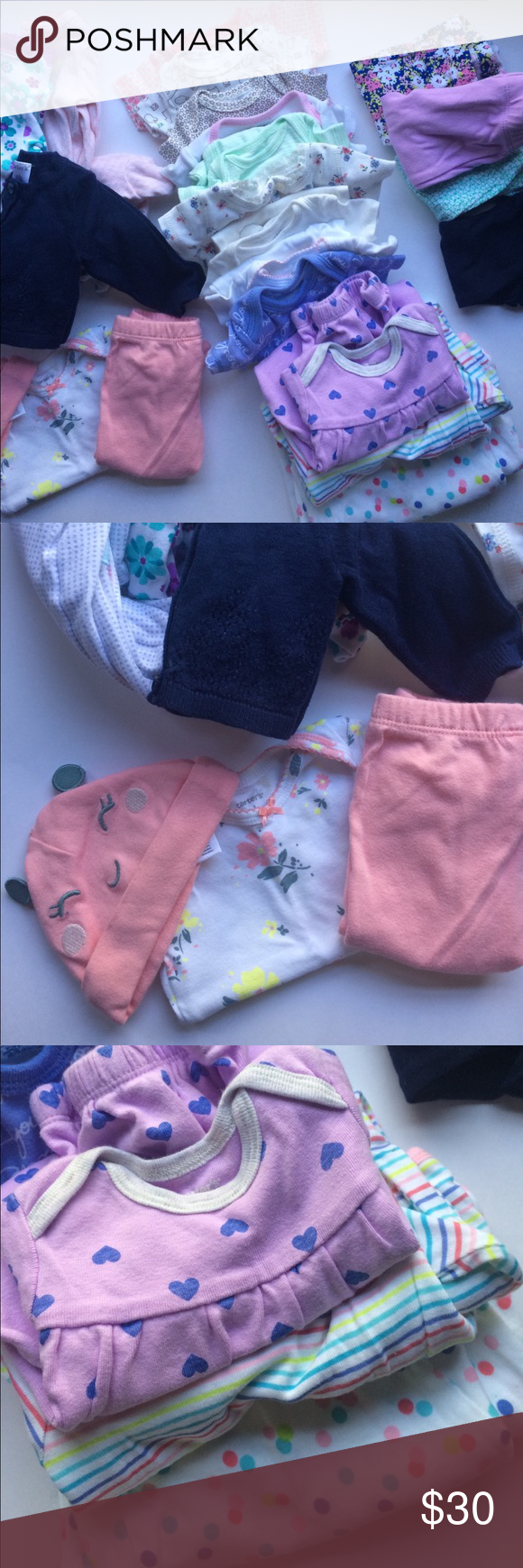 """23 Pc Newborn Girl Bundle • Mixed Outfits & Colors Bundle of baby girl gowns, one pieces / onesies, pants, sleep & play rompers, a cardigan, a """"take home"""" outfit of top / pants/ hat • Sizes are Newborn, 0-3 months • Colors are pink, blue, purple, periwinkle, Coral, green, peach, navy, white, cream, etc. • Mixed brands including Carter's, Just For You (Target), Garanimals, etc. • Nice mixed bundle - EUC - some of it has never been worn Carter's One Pieces Footies"""