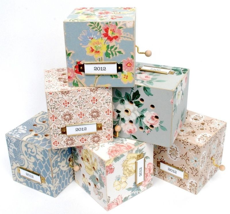Handmade Wooded Music Boxes Covered In Vintage Wallpaper