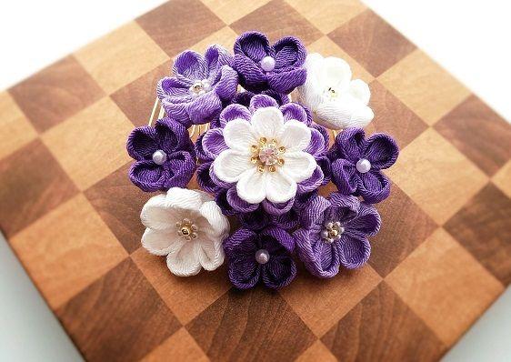 ★パープルクイーンの花飾り(コームかんざし)垂付き