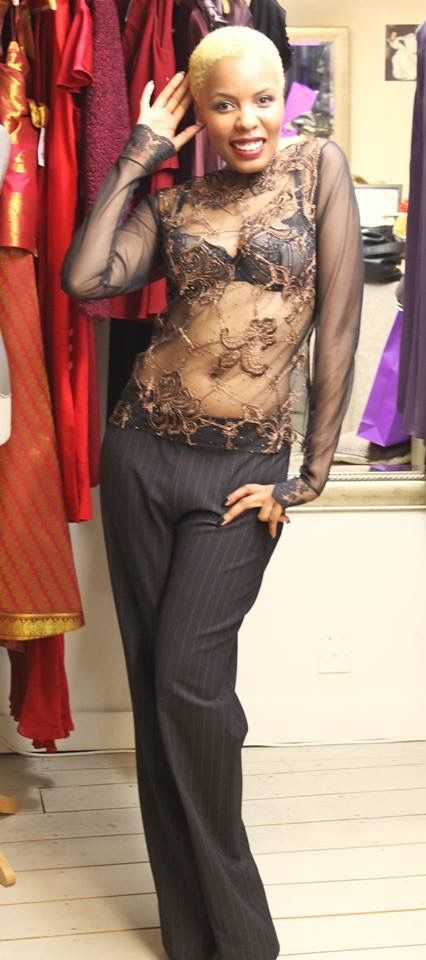 Clariscia Gill, CG Couture - lace blouse, pinstripe pants