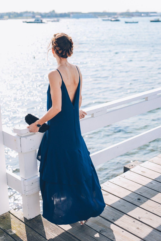 Black tie wedding style keepsake navy maxi dress prosecco u plaid