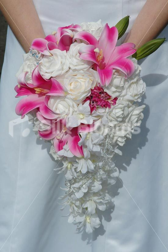 Gorgeous Cerise Pink Lilies, White Rose Tear Drop Bridal ...
