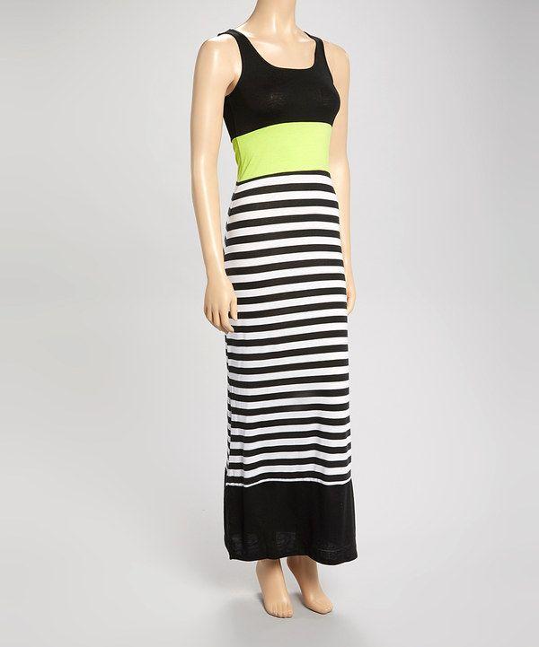 Look what I found on #zulily! Derek Heart Black & Lime Green Stripe Maxi Dress by Derek Heart #zulilyfinds