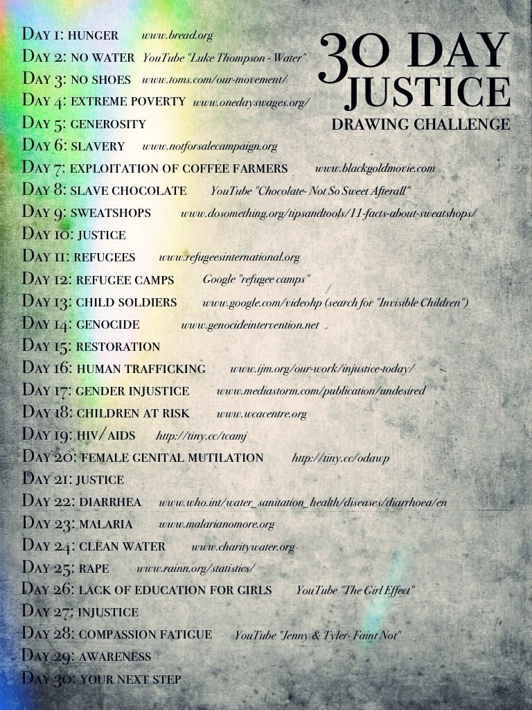 30 Day Justice Drawing Challenge www.outsidethegra...