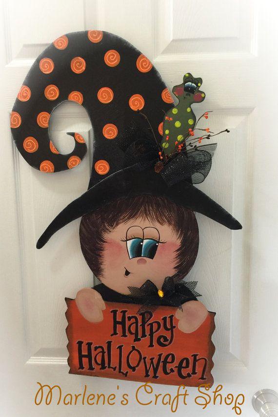 Halloween Witch Door Hanger/Large Witch sign/ by MarlenesCraftShop