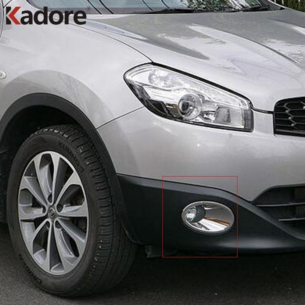 For Nissan Qashqai And Qashqai+2 2010-2013 Chrome Front Fog Light Cover Trims Head Fog Lamp Frame Auto Accessories