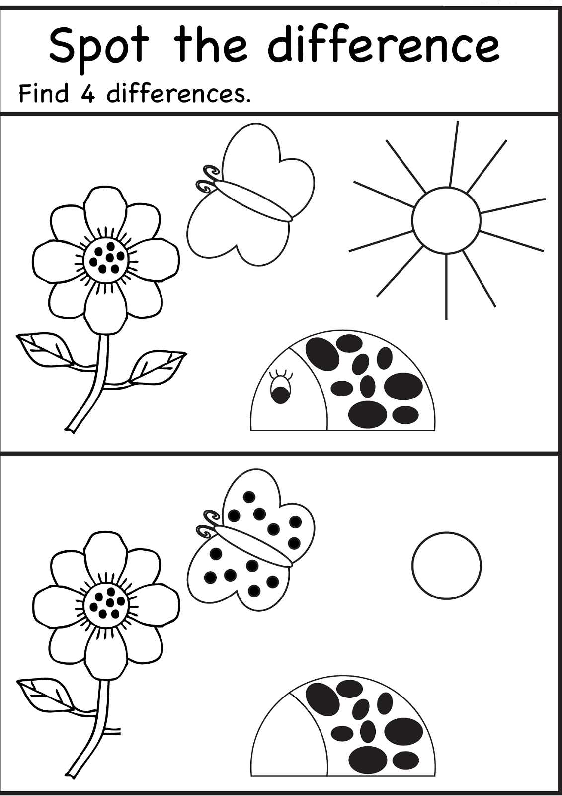 Spot The Difference Worksheets for Kids | spot the ...