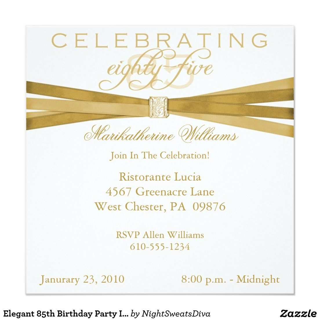 Elegant 85th Birthday Party Invitations 525 Square Invitation Card