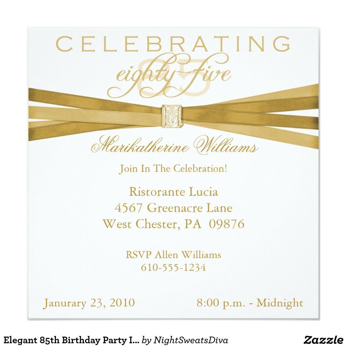 Elegant 85th Birthday Party Invitations 525 Square Invitation – 85th Birthday Cards