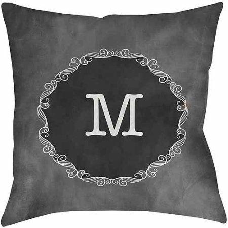Thumbprintz Chalkboard Scroll Monogram Grey Decorative Pillows Extraordinary Grey Decorative Bed Pillows