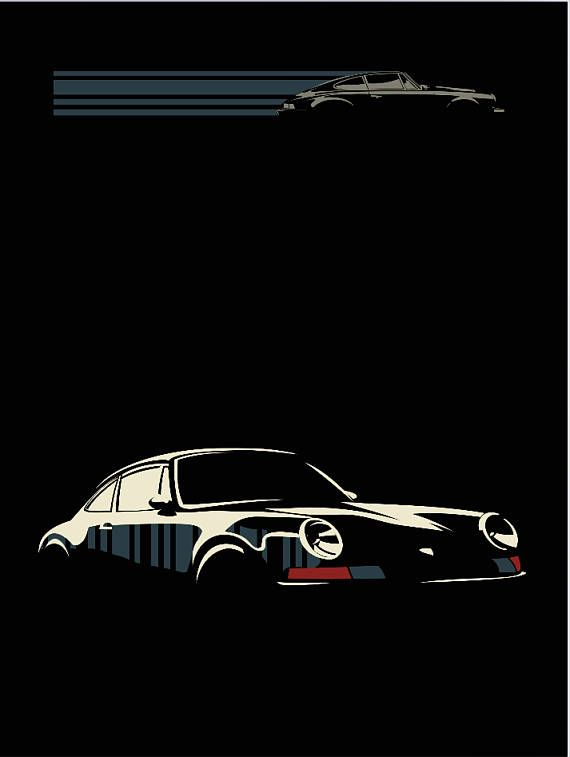 Porsche 911 classic car illustration/ poster/ print 11×17″
