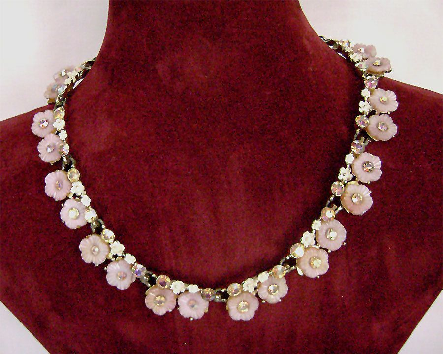Vintage BSK Pink poured glass Flower AB rhinestone enamel necklace 1950's