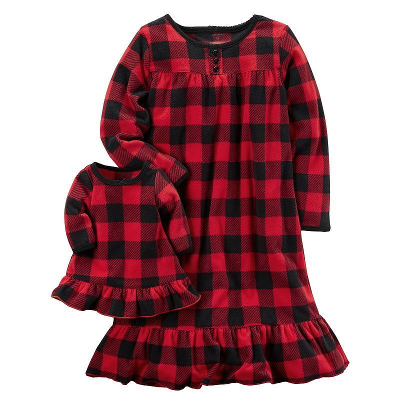 516c452fe Girls 4-14 Carter's Buffalo Check Nightgown & Doll Dress Set, Size: 12-14,  Red