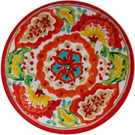 Better Homes and Gardens Round Melamine Dinner Plate Red Watercolor Print  sc 1 st  Pinterest & Better Homes and Gardens Round Melamine Dinner Plate Red Watercolor ...
