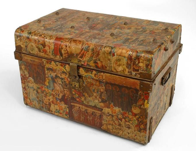 English Victorian misc. furniture floor trunk decoupage