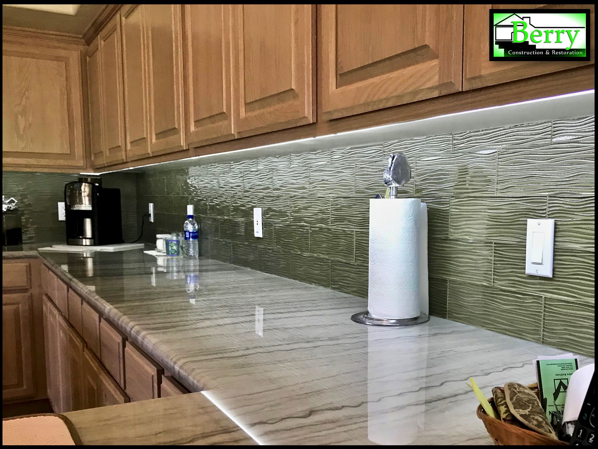 Here Is The Completed Restoration Follow Up Post Of The Nipomo Home That Suffered A Water Damage We Specialize In Insurance Restorat Quartzite Countertops Travertine Tile Oak Cabinets