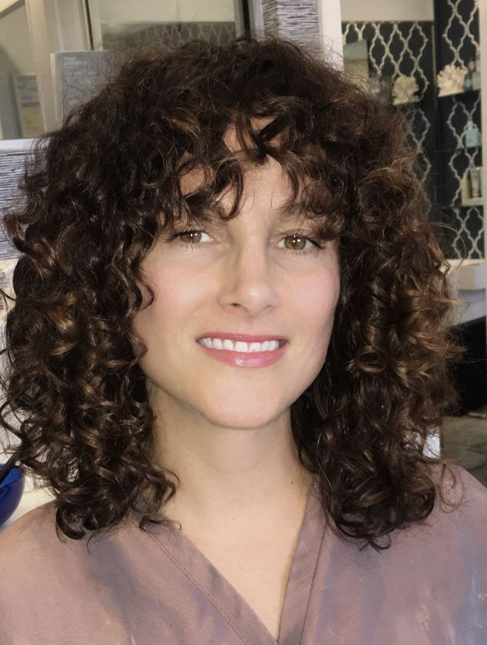 Haircut By Alenka Santa Monica Ca Beautiful Shorter Hair With Curly Hair Bangs Hairstyles With Bangs Curly Hair With Bangs Short Hair Styles