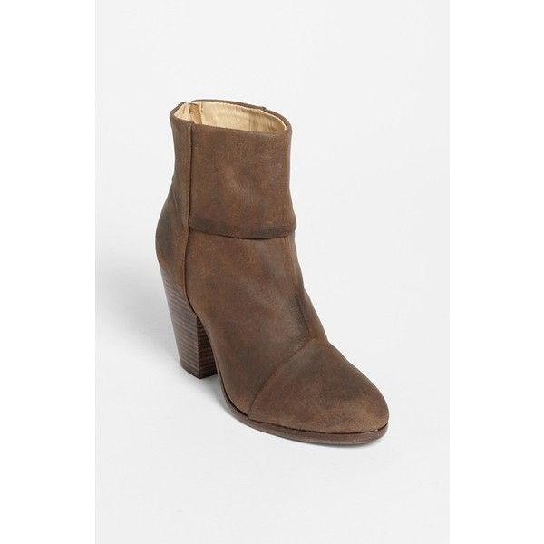 "rag & bone 'Newbury' Bootie, 3 1/2"" heel ($525) ❤ liked on Polyvore featuring shoes, boots, ankle booties, ankle boots, brown wax suede, high heel ankle boots, chunky high heel boots, brown booties, brown boots and chunky booties"
