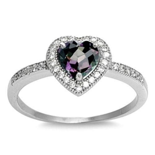 Blue Sapphire CZ Round Solitaire Vibrant Ring Sterling Silver Band Sizes 5-10