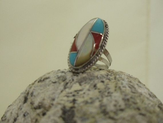 Vintage Southwest silver turquoise coral and by 2vintagedivas, $22.00