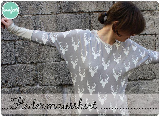 Nähanleitung und Schnitt für ein Fledermausshirt in den Größen 34-52  Dieses Shirt wirst du nicht nur an Wohlfühltagen lieben. Es sitzt durch die Fledermausärmel locker und leicht und versteckt...