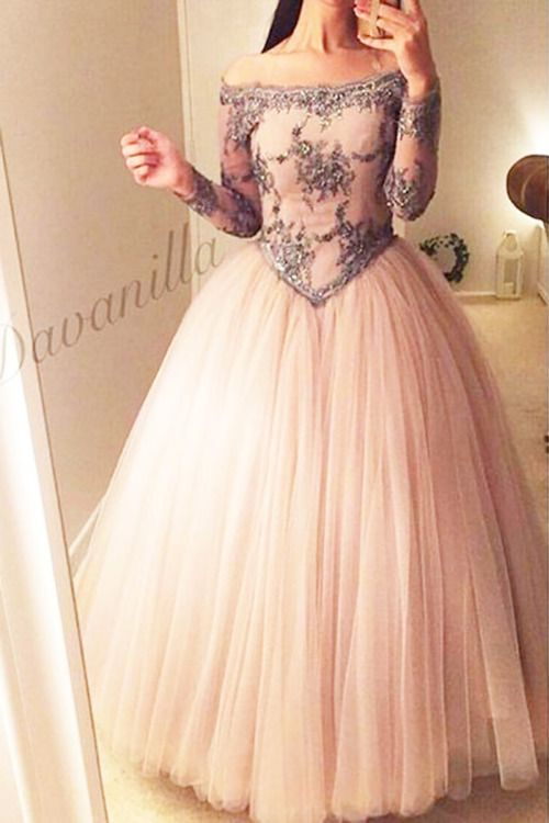 20b9f0ca28f Champagne tulle vintage prom dress