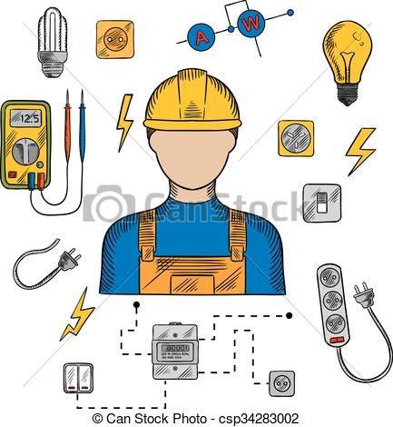 Resultado De Imagen De Dibujos De Herramientas De Electricista Imagenes De Electricidad Imagenes De Dibujos Garabatos De Navidad