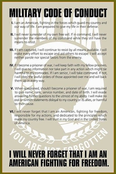 U S Armed Forces Code Of Conduct Military Code Of Conduct Code Of Conduct Pow Mia